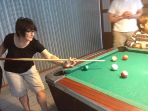 Geega, or Deb's mom Noline, her first game of pool - she was a shark!