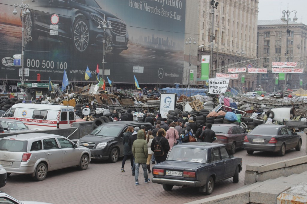 Kreshatek - the main street in Kiev was fortified with bags of sand, garbage and everything they could possibly find.  They were allowing a single file line in / out and monitoring everything.