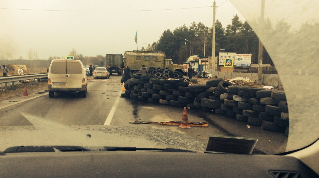 Broderic snapped shots of our entrance into Kiev - at least 3 separate checkpoints established by the protestors.