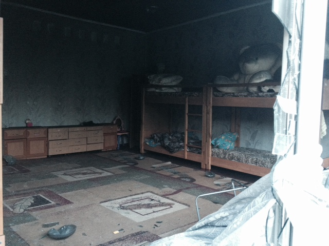 The boys bedroom.  The fire was put out just before consuming this room.
