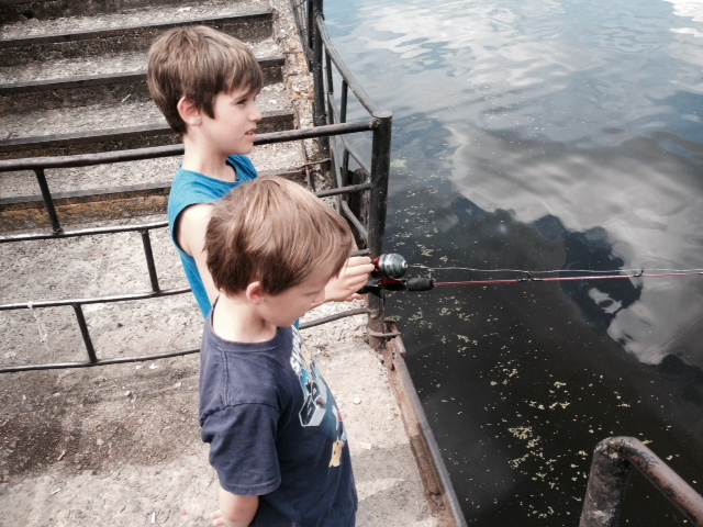 Brought back a fishing rod for the boys - their first casting.. thankfully nothing caught haha.