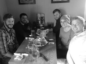 EDsuite crew in Texas at lunch.  David, Joel, Sam (bearded lumberjacks), Rachel and Justin.