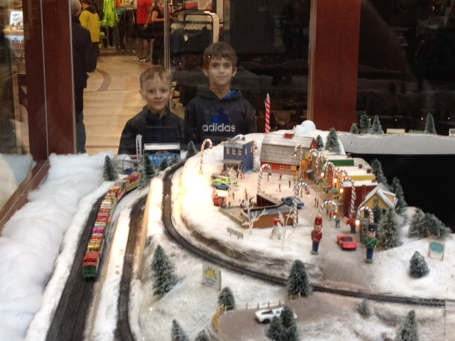 Noah and Clark enjoying the model train setup.