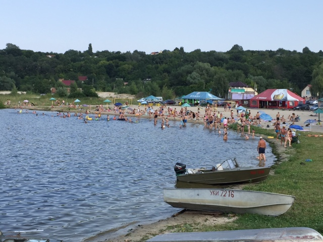 Our beach gets crowded on the weekends.  There are now 4 (identical) beer tents and even paddle boat rental ;)