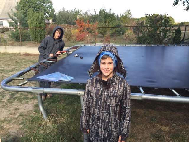 Year 7 in Ukraine (2 in Texas).. this is the famous trampoline that has had every part replaced.. keeps on bouncing!