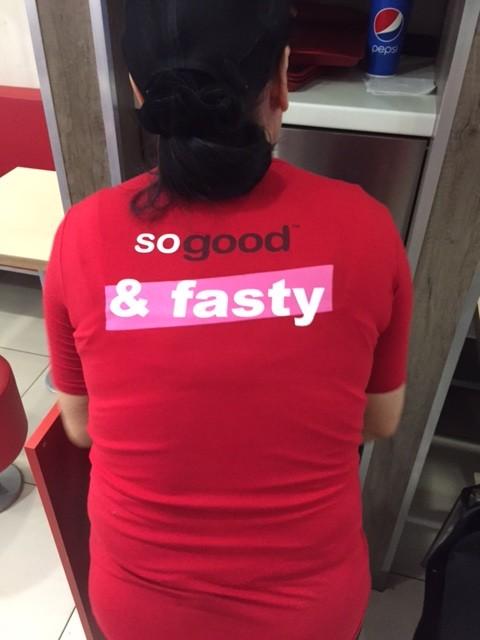 KFC in Kiev sporting new t-shirts - someone forgot to spellcheck! :)