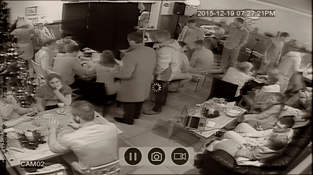 A view from our security camera - folks getting ready for the concert last Saturday night.