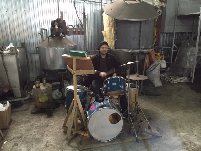 Dima unveiled his drum kit at work! What a guy :)