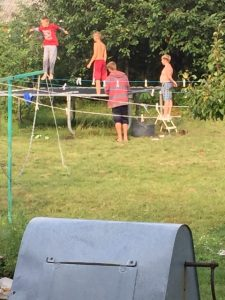 8yrs going, this trampoline continues to draw dozens of new faces each summer. 3 tarp replacements, +50 springs, Sam's Club record for sure.
