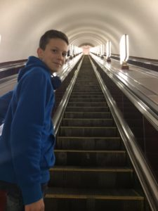 The Kiev escalators to the metro system are some of the deepest in the world. This is seriously only half way!