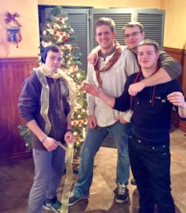These guys couldn't pass up decorating a Christmas tree - we had a merry old time.