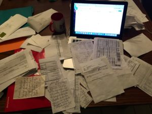 A very small sample size of the amount of paper receipts we try to make sense of for end of year taxes.