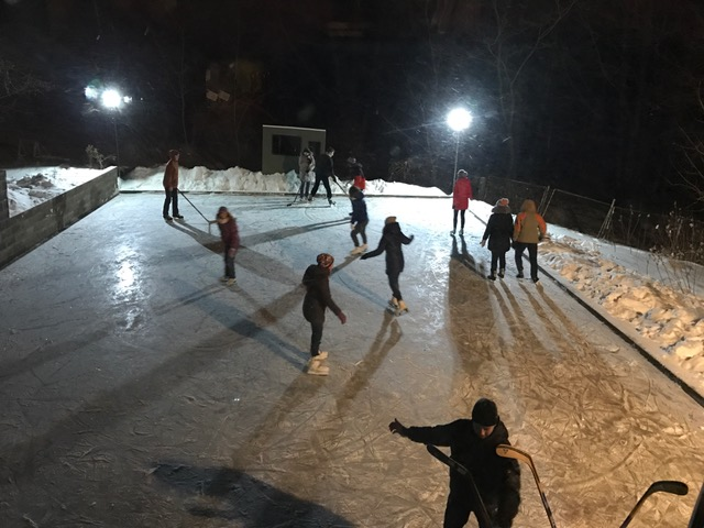 Ice rink is being used daily,and nightly and providing plenty of sore backs with all this snow!